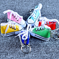 Colorful Women's Shoes Key Chains for Lovers Small Canvas Shoes Car Keychain Silver Plated Shoe Keyrings Key Holder