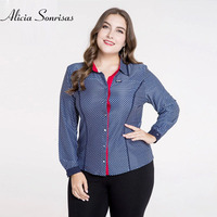 2018 New Plus Size Blouse For Women 4XL 5XL Long Sleeve Plaid Dolka Dot Shirt Women