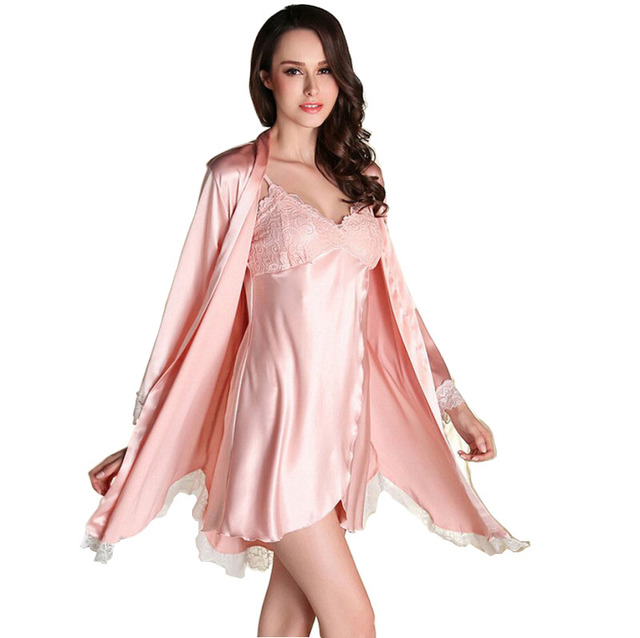 2016 Women Robe Sexy Lace Silk Robe Gown Sets Deep V-neck Night Dress Sleepwear Pyjamas Bathrobe Bridesmaid Robes