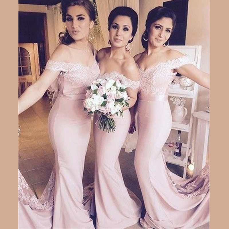 Blush Pink Long   Bridesmaid     Dress   Cap Sleeve Wedding Party   Dress   Mermaid Sweep Train 2019 New Arrivals