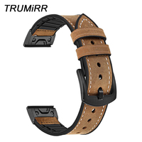 TRUMiRR Leather + Silicone Rubber Watchband Quick Fit for Garmin Fenix 3/5/5X Plus/Forerunner 935/Approach S60 Watch Band Strap