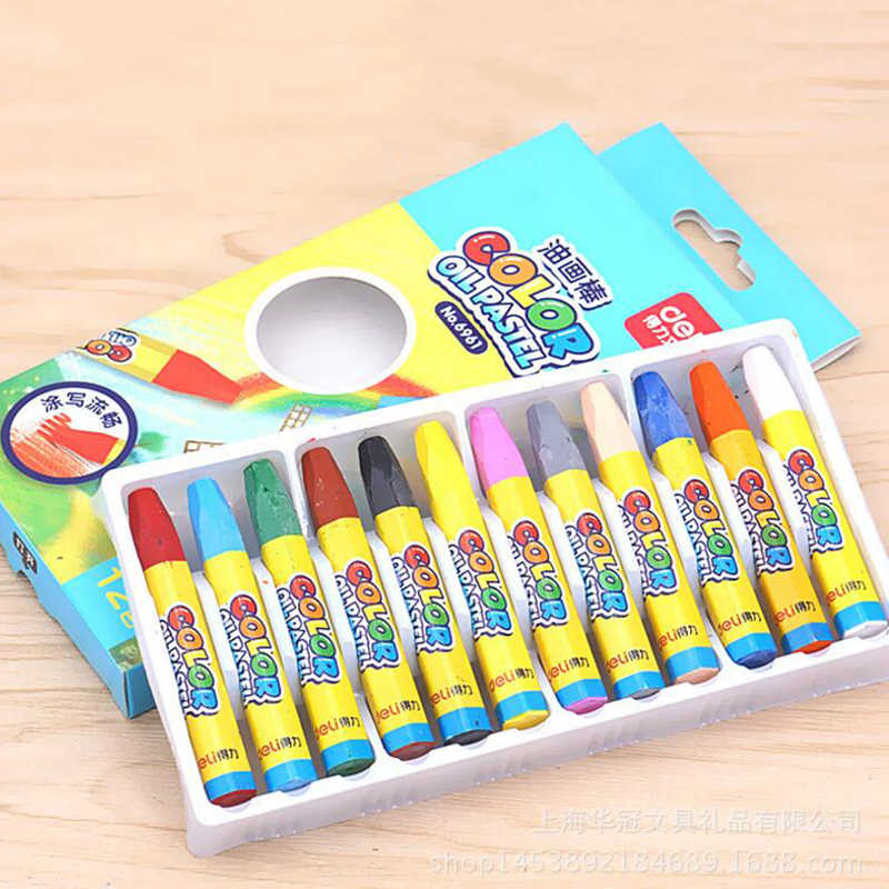 12 renk mum boya kalemler balmumu çizim seti sanatçı boya yağı Pastel kalem öğrenci çocuk okul kroki sanat malzemeleri