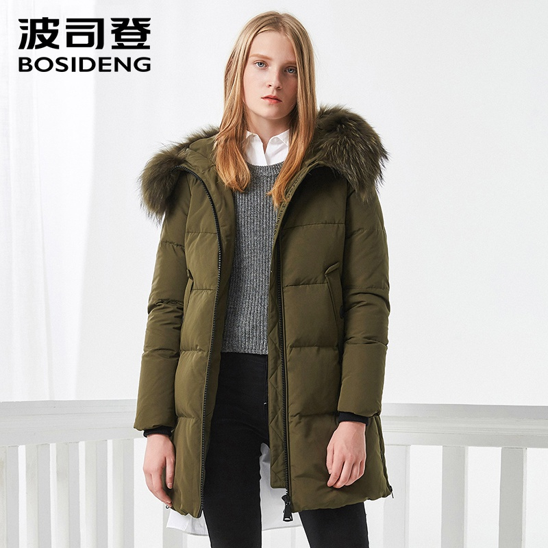 BOSIDENG women winter duck   down   jacket mid-long   down     coat   natural fur collar deep winter thicken outwear waterproof B70141006
