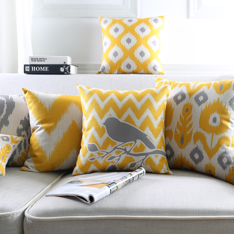 Linen Pillow Cover Throw decorative Cushion Cover Ikat Abstract Geometric Yellow Grey Pillow Case 45cm*45cm