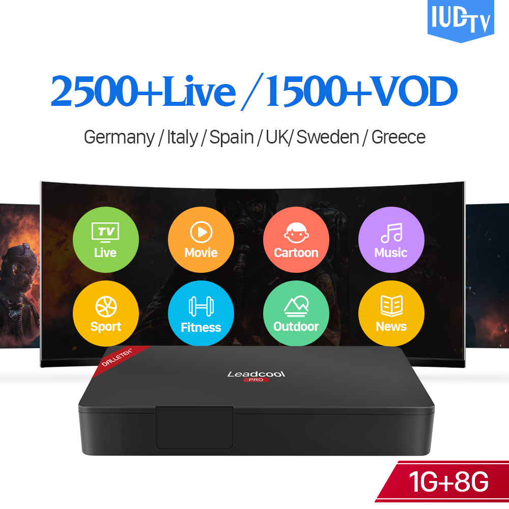 IUDTV Europe Box Leadcool Pro RK3229 4K H.265 2.4GHz WIFI IPTV Decoder Germany Turkish Italy Sweden IPTV Channels Subscription free italy sky french iptv box 1300 european channels iudtv european iptv box live stream sky sports turkish sweden netherland