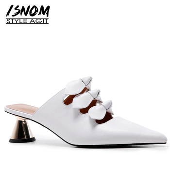 ISNOM Unusual Heel Slippers Woman Pointed Toe Butterfly Knot Footwear Leather Slides Shoes Female Party Mules Shoes Women Summer