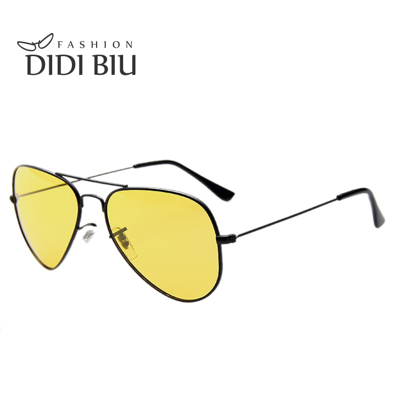 DIDI Lovers Polarized Day & Night Vision Glasses Yellow Aviator Driving Sunglasses Men Brand Designer Frog Goggles Eyewear H276