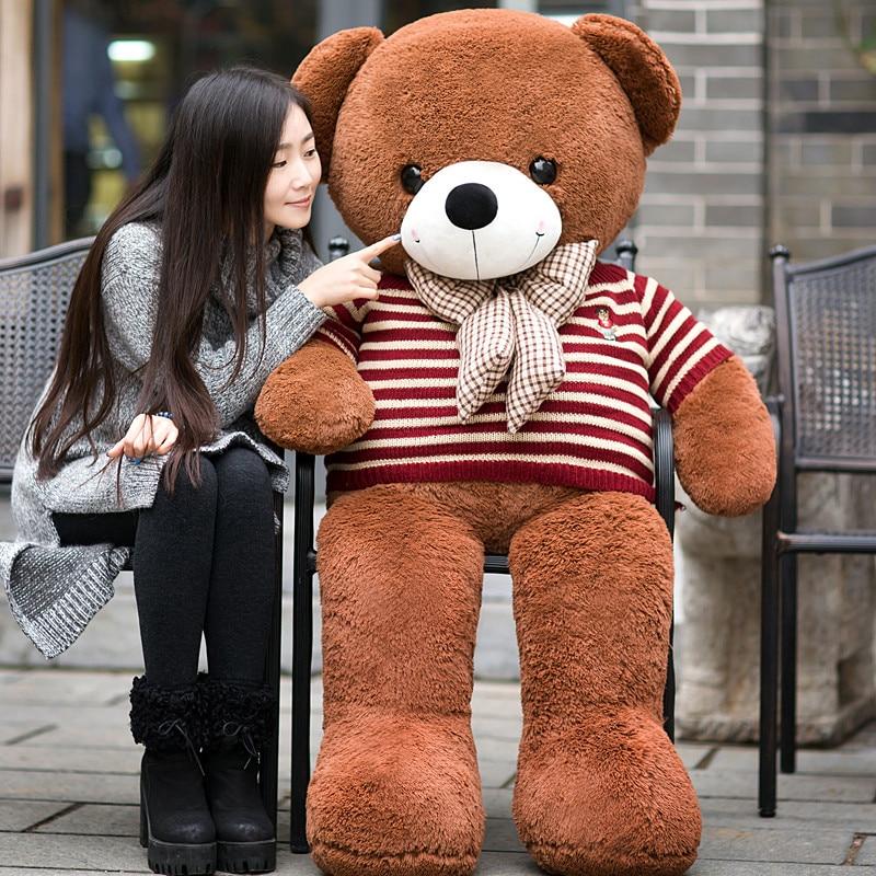 2017 New 160cm big giant sweater Tactic plush stuffed toy teddy bear soft bears baby girl doll birthday gift pillow LLF giant big cute plush stuffed teddy bear soft toy gift best birthday gift 130cm