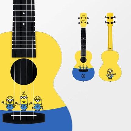 Enya ukulélé 23 pouces Intelligent LED Concert Minions Ukeleles acoustique 4 cordes Hawaii Mini guitare