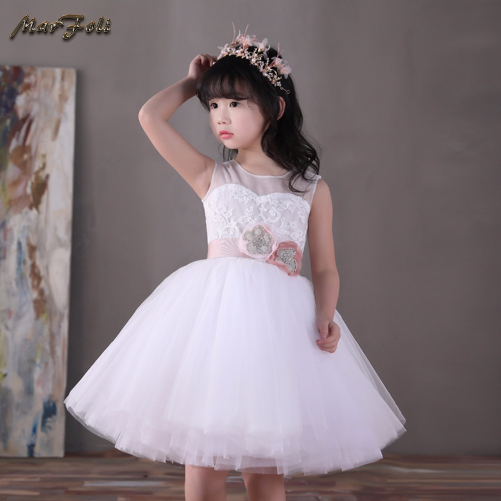 Marfoli Flower Girl Dress Pink Rose Wedding Pageant Kids Boutique 2017 Summer Princess Party Dresses Clothes ZT0070 marfoli girl princess dress birthday