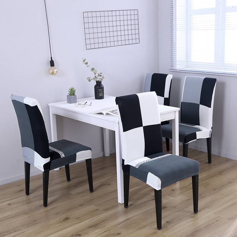 Astonishing Us 15 71 28 Off 4Pc Spandex Stretch Minimalist Black White Plaids Pattern Chair Protective Slipcover Case Anti Dirty Elastic Dining Chair Covers In Pdpeps Interior Chair Design Pdpepsorg