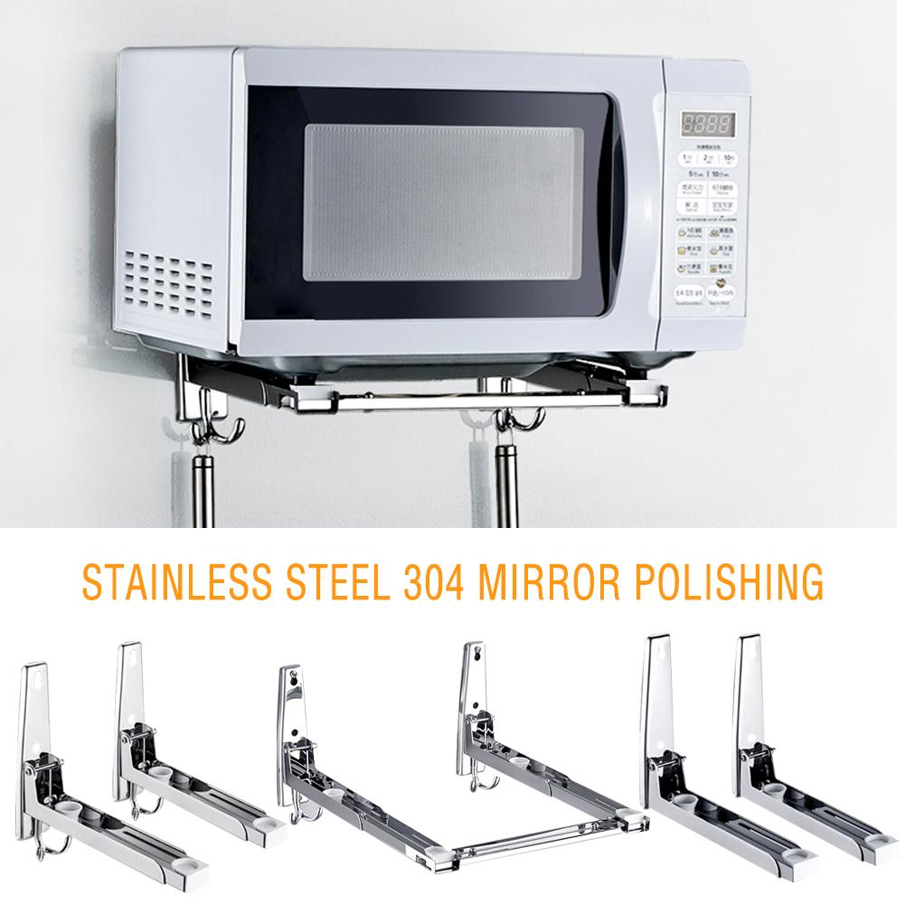 304-stainless-steel-microwave-oven-rack-wall-mounted-kitchen-shelf-retractable-bracket-oven-rack-thicken-version-thickened-hold