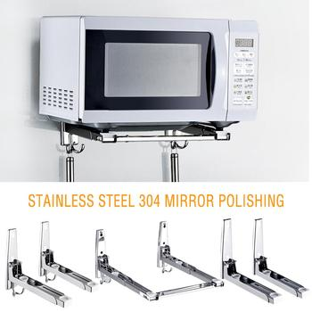 304 Stainless Steel Microwave Oven Rack Wall-mounted Kitchen Shelf Retractable Bracket Oven Rack Thicken Version Thickened Hold induction cooktop stainless steel kitchen rack floor multi layer storage rack microwave oven kitchenware storage shelf
