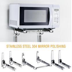 304 aço inoxidável forno de microondas rack de parede-montado prateleira da cozinha suporte retrátil forno rack engrossar versão engrossado hold