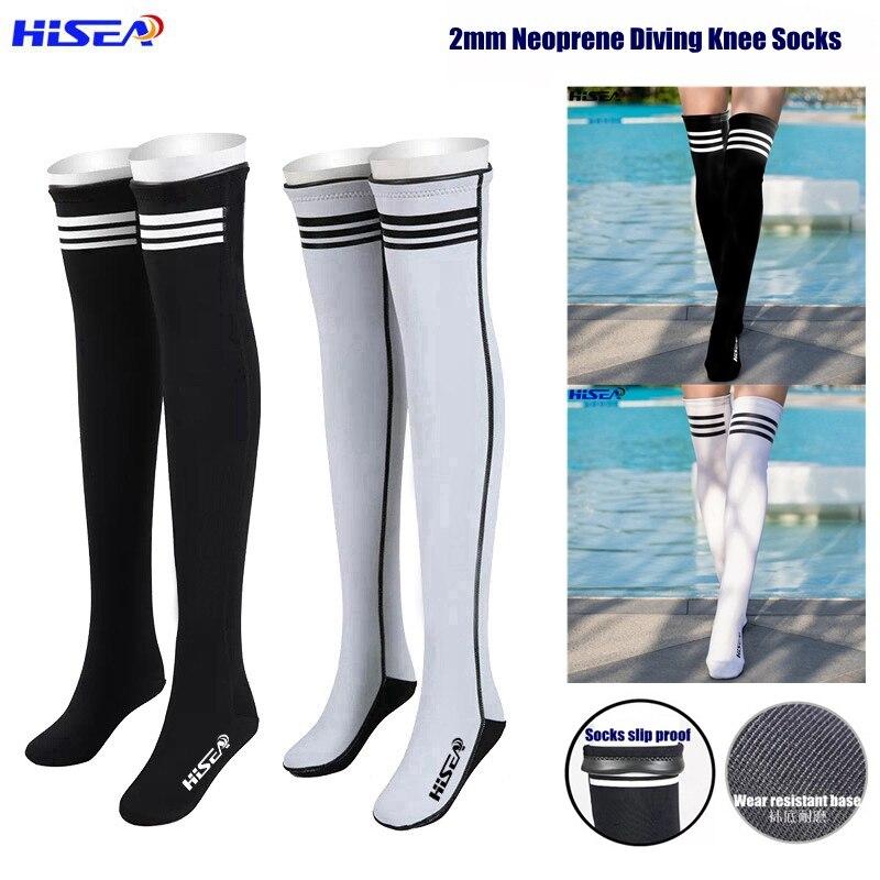 Hisea 2mm néoprène bas professionnels chaussettes de plongée chaussettes de plongée anti-dérapant genou haute chaussures de plongée protéger les jambes et les pieds