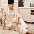 New Solid Men Faux Silk Leisurewear V-neck Pajamas Suits Homewear Long Sleeve Sleepwear