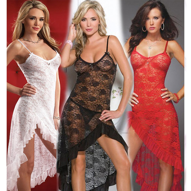 Black Red White Women Romantic Spandex Lace Nightwear Lingerie Half Transparent Sexy Nightdress Erotic
