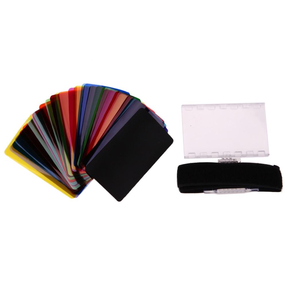 30pcs Color Flash Diffuser Lighting Gel Pop Up Filter Dynamic Colors Flash Filter Photography Set