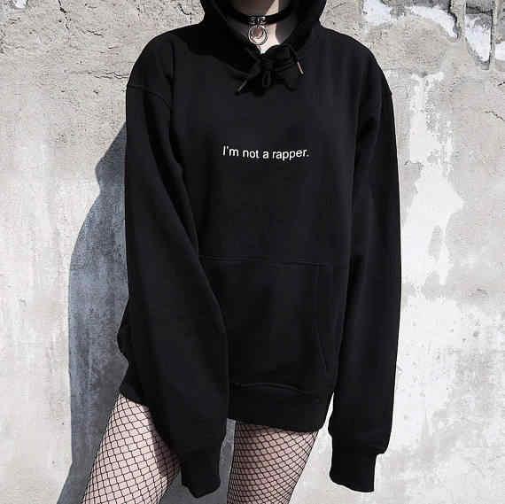 pretty nice 1a723 551de Je Ne suis Pas un Rappeur Hoodies Mode pullover décontracté Tumblr Polaire  Femmes Sweat-Shirt Inspiré 90 s Col Rond Hommes Noir Tenues S-3XL