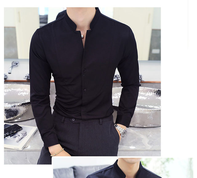 Fall Winter Stand Collar Mens Long-sleeved Dress Shirts Black Red White Slim Elegant Youth Male Business Wedding Formal Shirt 32