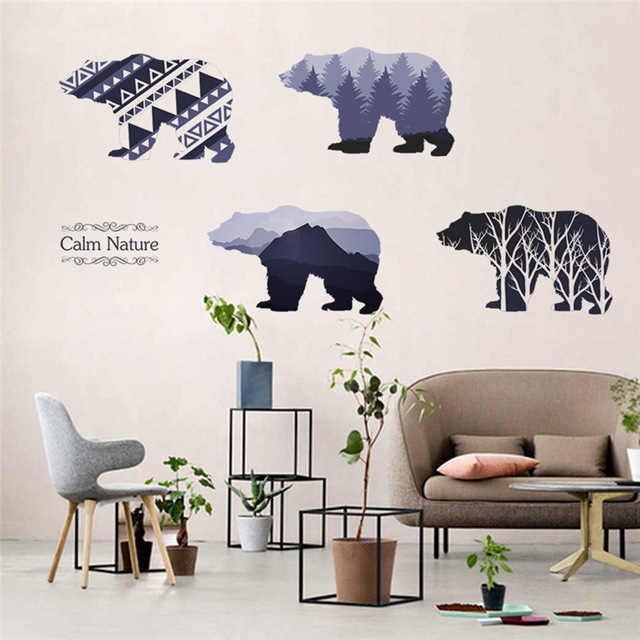 % calm nature tree mountain bear 3D Window Beautiful Film wall Decal Wallpaper View Wall Stickers living room office decoration