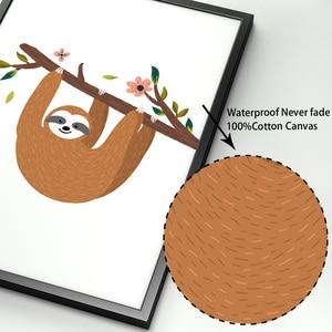 Image 4 - Desenhos animados sloth ramo flor arte da parede pintura da lona nordic cartazes e cópias do berçário fotos de parede para crianças decoração do quarto bebê
