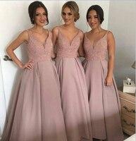Vloerlengte dusty rose A-lijn bruidsmeisje jurk v-hals nieuwe komen hot koop plus size korting bruiloft gast Jurk BD904