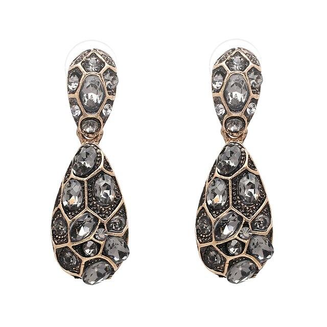 2017 Nuevo de lujo joyas Vintage para declaración boda gris piedra pendientes conjunto sólido Oficina Señora del trabajo pendientes venta al por mayor