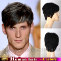 100% human real black hair toppers short mens toupee degli uomini toupet uomo clip in hair men's wigs lace toupees hairpieces