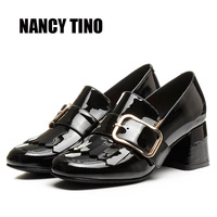 NANCY TINO 2017 New Fashion Spring Autumn Ankle Women Shoes Genuine Leather Metal Decoration Woman Cozy