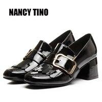 NANCY TINO 2017 New Fashion Spring Autumn Ankle Women Shoes Genuine Leather Metal Decoration Woman Cozy