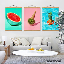 цена на Pineapple Wall Art Canvas Posters Prints Nordic Love Quote Paintings Watermelon Wall Picture for Living Room