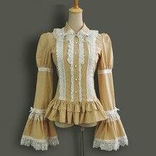 Весна Осень женщины с длинным рукавом винтаж готическая лолита костюм офис блузка женская Кружева Хлопок Случайных рубашки на заказ