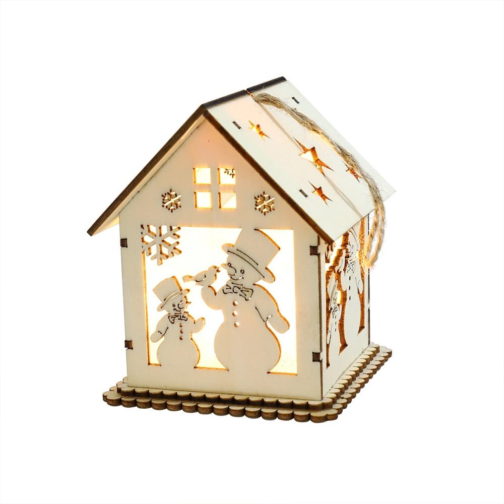 LED Light Wooden Dolls House Villa Christmas Ornaments Xmas Tree Hanging Decor