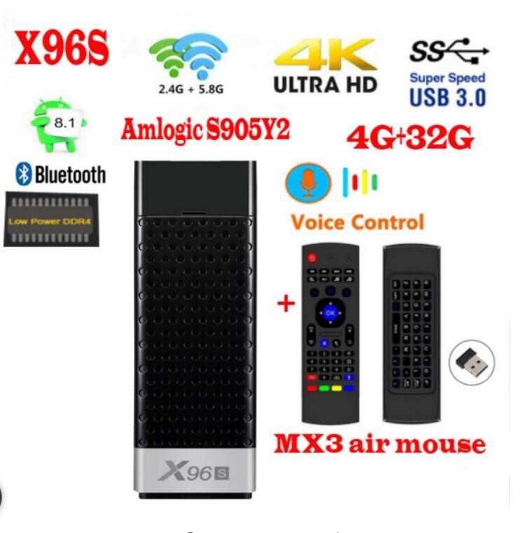 X96S テレビスティックの android 8.1 amlogic s905Y2 H.265 2.4/5 グラム WIFI BT4.2 コア 64bit の cortex a53 ミニ pc x96 最大ミニ  グループ上の 家電製品 からの セット トップ ボックス の中 1