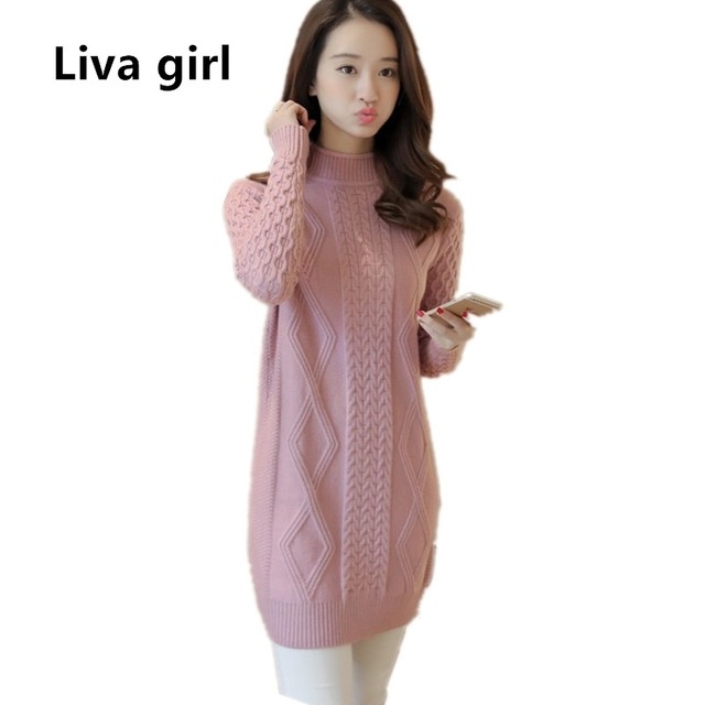 3c309f9af9a knitted sweater dress plus size women s oversized pullover sweaters 2018  fall winter long high neck sweater