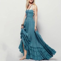 Women Casual Sexy Dress 2018 Summer Bohemian Expansion Loose Pullover Plain Pleated Backless Lace Up Girls Fashion Long Dress