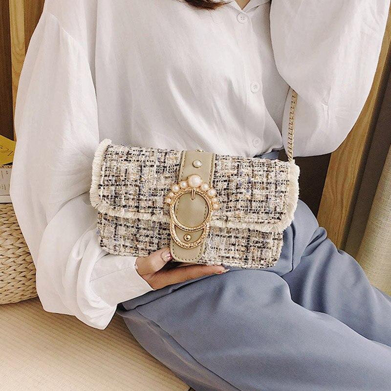 Fashion Women New Knit Flap Shoulder Bag INS Popular Casual Female Tassel Weave Handbag Mini Lady Pearl Chain Crossbody SS3458 (16)