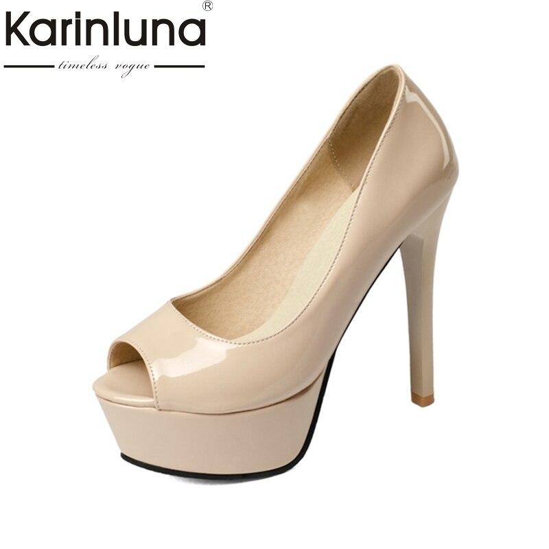цена на KARINLUNA Big Size 32-43 Peep Toe 2017 Platform Women Shoes Sexy Thin High Heels Office Lady Dating Party Pumps Footwear