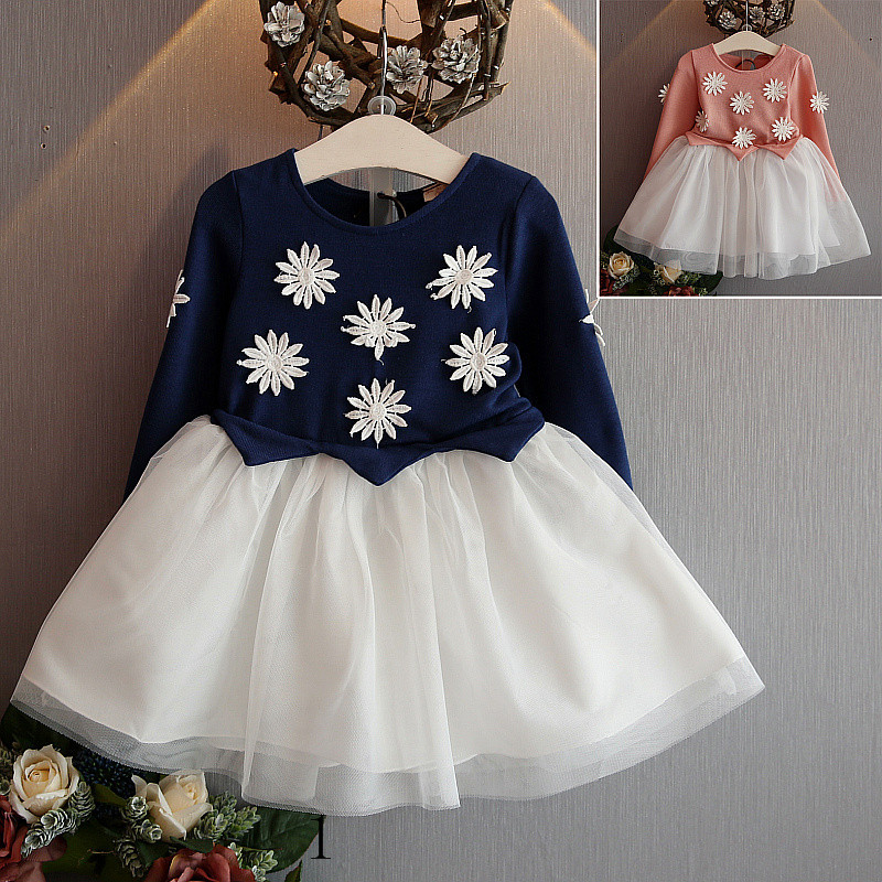 5505fd070b5f girls autumn dress fall clothing 2016 flowers cute kids children dress 5  years old kids clothing for sale jurk meisje