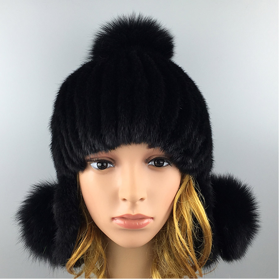 ФОТО 2016 Winter Novelty Beanies Fur Hat High Quality Mink Fur Ball Solid Mink Fur Hat for Women
