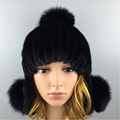2016 Winter Novelty Beanies Fur Hat High Quality Mink Fur Ball Solid Mink Fur Hat for Women