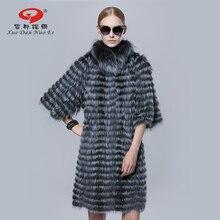 Women winter fur coat real silver fox fur strip coat medium long outwear half sleeve jacket elegant fashion women fur coat