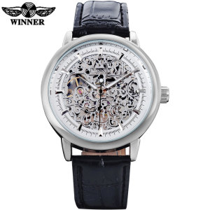 WINNER luxury brand fashion sports mechanical watches leather strap men's hand wind skeleton silver case watches reloj hombre