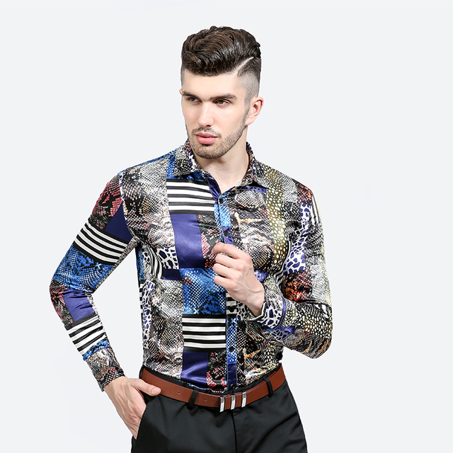 d530f47c7f5bd6 Fashion Shiny Satin British Style Long Sleeve Casual Loose Silk men Shirt  Thin plus size plus size Male Wedding Dress Shirts