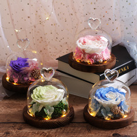 Multicolor Glass Dome Eternal LED Beauty and The Beast Rose Flowers Romantic Valentine's Day Mother's Day Gifts for Birthday