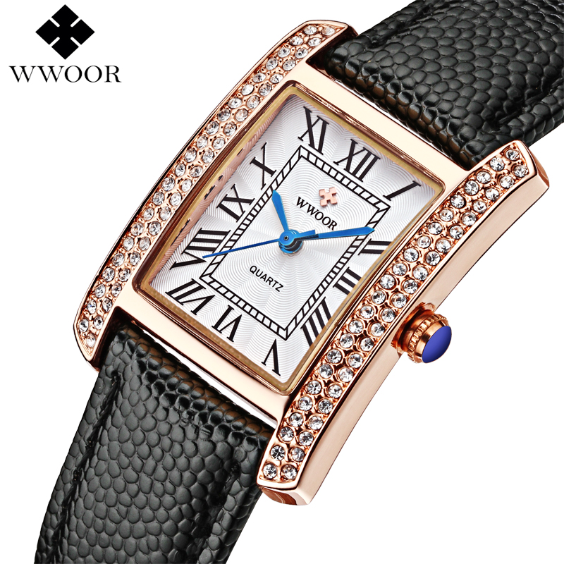 Luxury Brand Genuine Leather Square relogio feminino Rose Gold Dress Watch Ladies Casual Quartz Watch Women Watches Clock Female guou brand new luxury fashion quartz ladies watch clock rose gold dress casual girl relogio feminino women watches gu 8148
