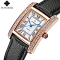 Luxury Brand Genuine Leather Square relogio feminino Rose Gold Dress Watch Ladies Casual Quartz Watch Women Watches Clock Female