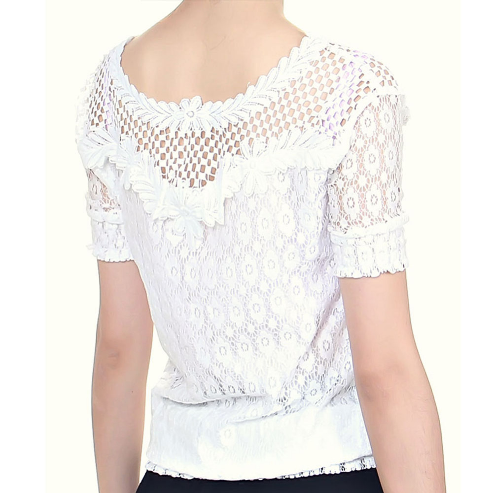 Beautiful Lace Blouses Summer Women Short Sleeved Shirts Small