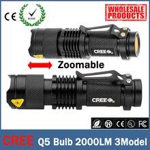 Mini LED Flashlight ZOOM 7W CREE 2000LM Waterproof Lanterna LED 3 Modes Zoomable Torch 3.7V AA 14500 battery Flashlight led zk63